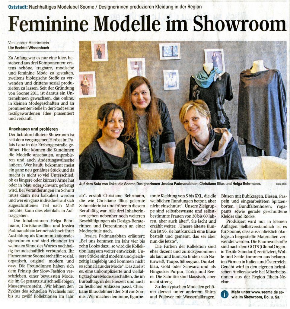 soome Presseartikel  im Mannheimer Morgen 2016
